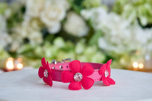 NEW! Luxury Fairy Flower Hot Pink Rhinestone Pet Collar Vegan