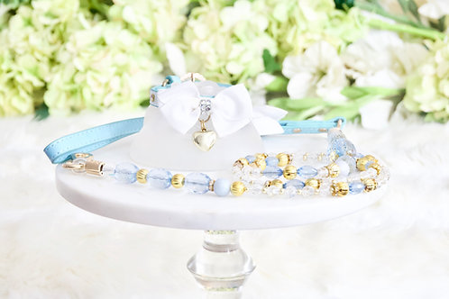 NEW! 2 Piece Set Deluxe Tiffany Blue Crystal & Bow Collar and Leash Set