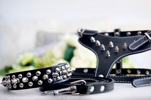 3 Piece Luxury Black Spike Pet Harness, Collar, and Leash Set