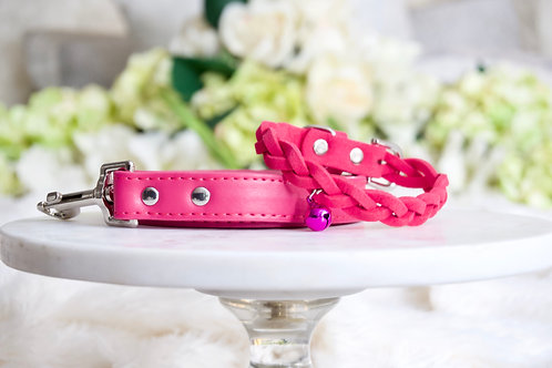 NEW! Luxury Hot Pink Braided Leash + Collar Set