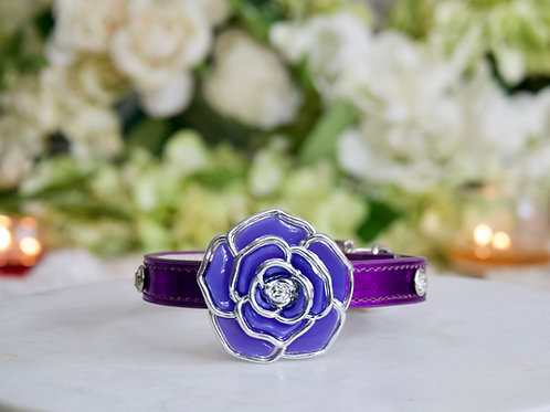 NEW! Luxury Purple Amethyst Rose Pet Collar Vegan