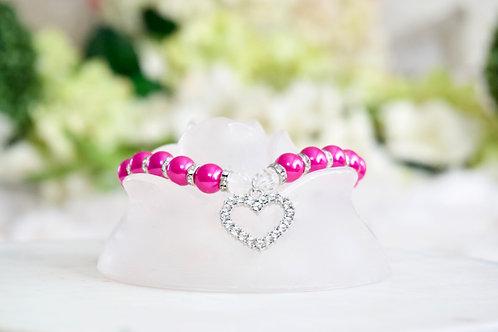 NEW! Luxury Barbie Pink Heart Rhinestone Pearl Pet Collar