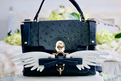 Luxury Dark Navy Ostrich Angel Wing 4 Way Convertible Handbag Backpack