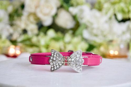 NEW! Luxury Matte Pink Magenta Thin Blue Bow Collar