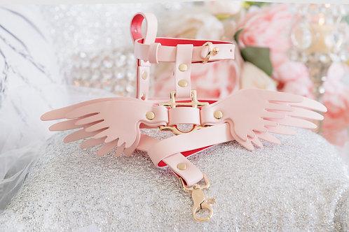 Luxury Angel Wing Harness & Leash Set - Cupid Pink