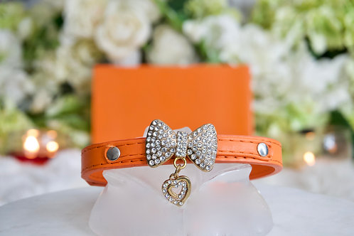 NEW! Luxury Classic Designer Orange Rhinestone Bow Pet Collar
