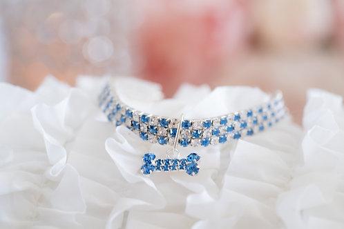 Luxury Blue Crystal Rhinestone Pet Collar