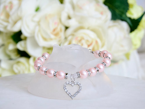 NEW! Luxury Pink Heart Rhinestone & Pearl Pet Collar