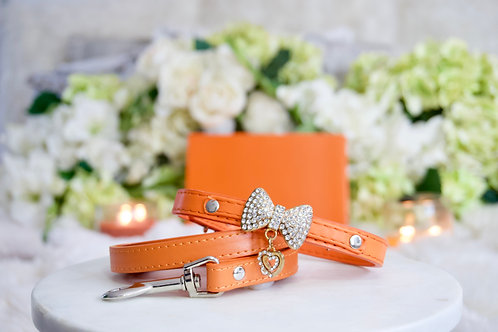 NEW! 2 Piece Set Luxury Classic Designer Orange Rhinestone Pet Collar + Leash