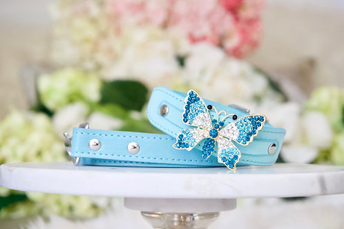 NEW! 2 Piece Set Majestic Tiffany Blue Crystal Butterfly Pet Collar & Leash Set