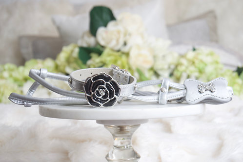 NEW! Luxury 3 Piece Silver Rose Pet Collar Harness and Leash Set