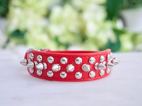 Luxury Ferrari Red Triple Spike Vegan Pet Collar