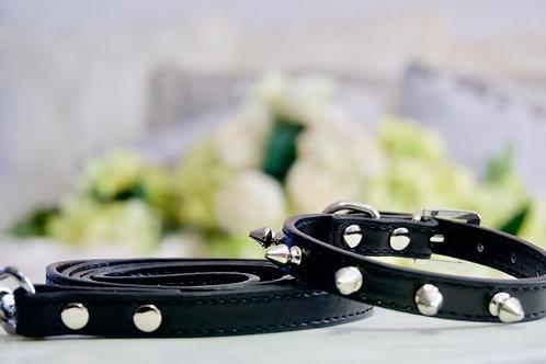 Luxury Black Spike Collar and Leash Set
