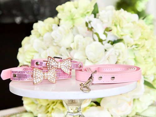 Luxury Leash + Collar Set, Princess Aurora Pink