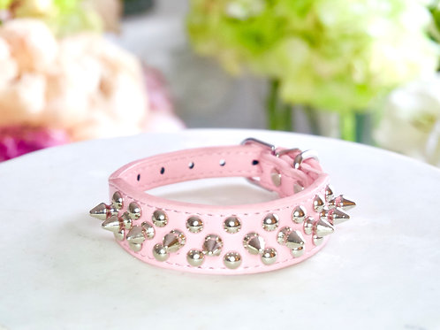 Luxury Triple Spike Matte Pink Pet Collar