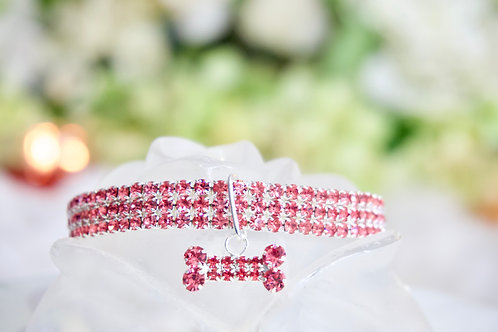 NEW! Luxury Solid Pink Crystal Rhinestone Pet Collar