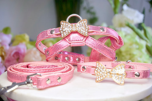 Luxury Pet Harness, Collar & Leash Set Princess Pink