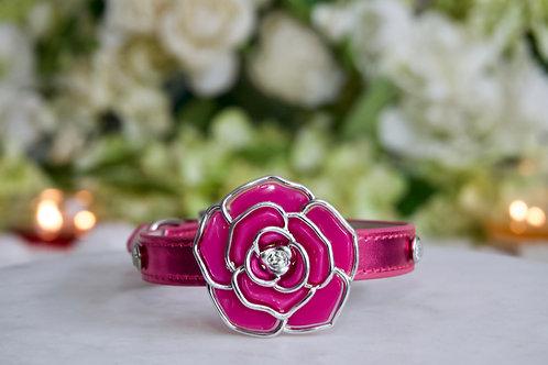NEW! Luxury Pink Aurora Rose Pet Collar Vegan