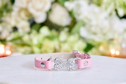 NEW! Luxury Matte Pink Pet Collar with Rhinestone Bone