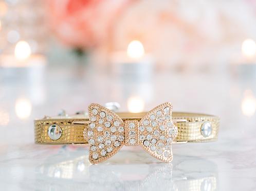 Luxury Gold Rhinestone Bow Pet Collar