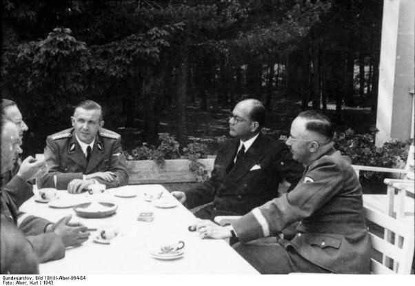 Subhas Chandra Bose with Himmler, the head of the SS, and other Nazi officials.