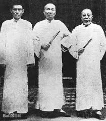 Du Yuesheng, Zhang Xiaolin, and Huang Jinrong from left to right