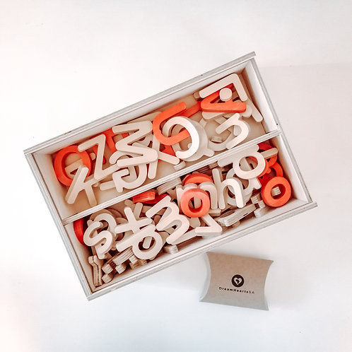 educational wooden alphabet box red