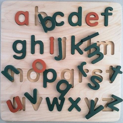 educational wooden alphabet puzzle green-orange
