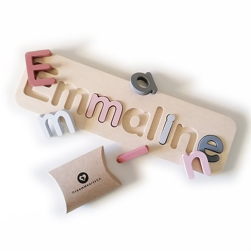 wooden name puzzle large pastel
