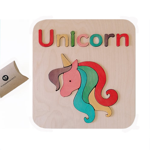 wooden 2 in 1 puzzle unicorn