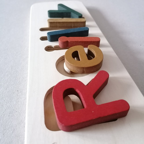 wooden name puzzle medium earth tones