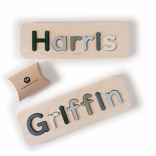 wooden name puzzle medium pastel