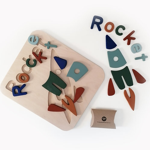 wooden 2 in 1 puzzle rocket