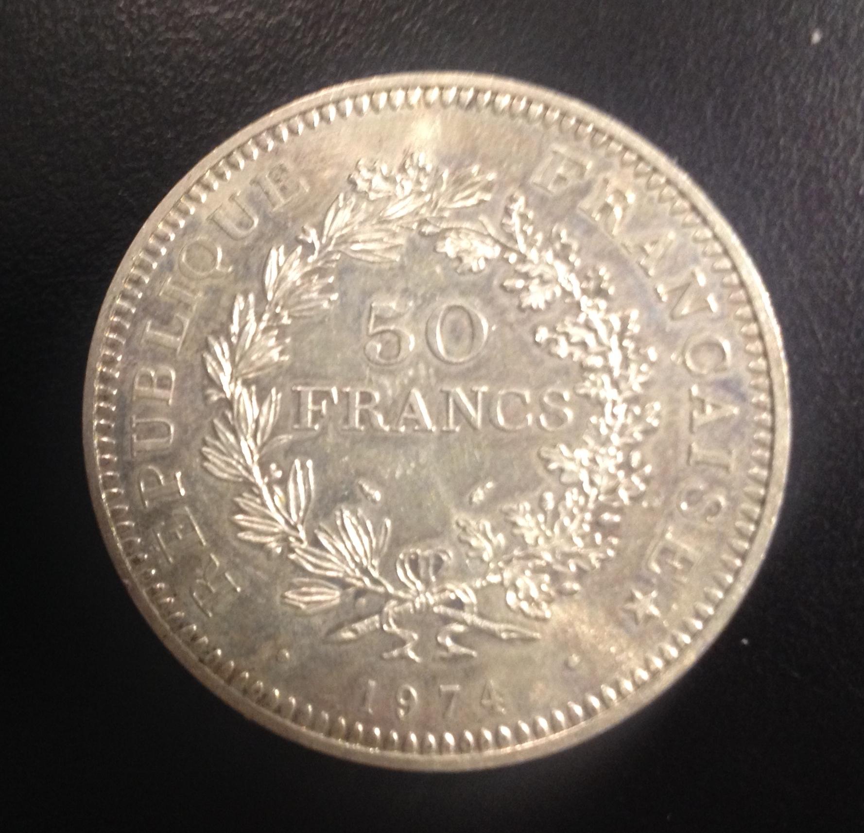 Lot de 5 pièce de 50 Francs 1974 argent