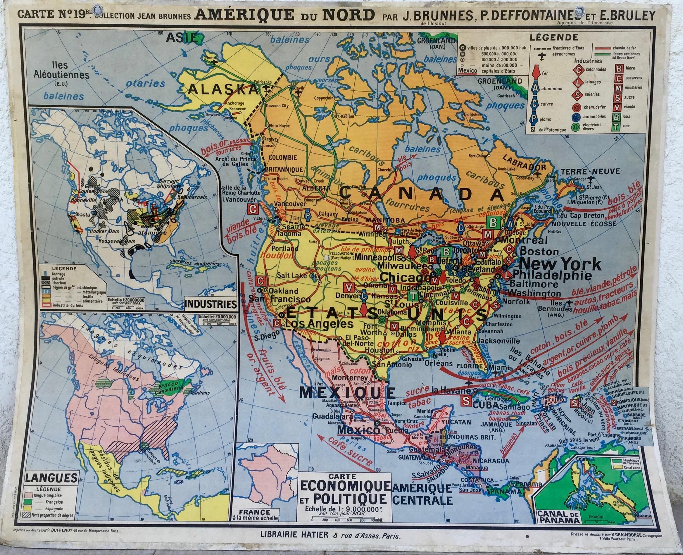 Carte scolaire Amérique du Nord