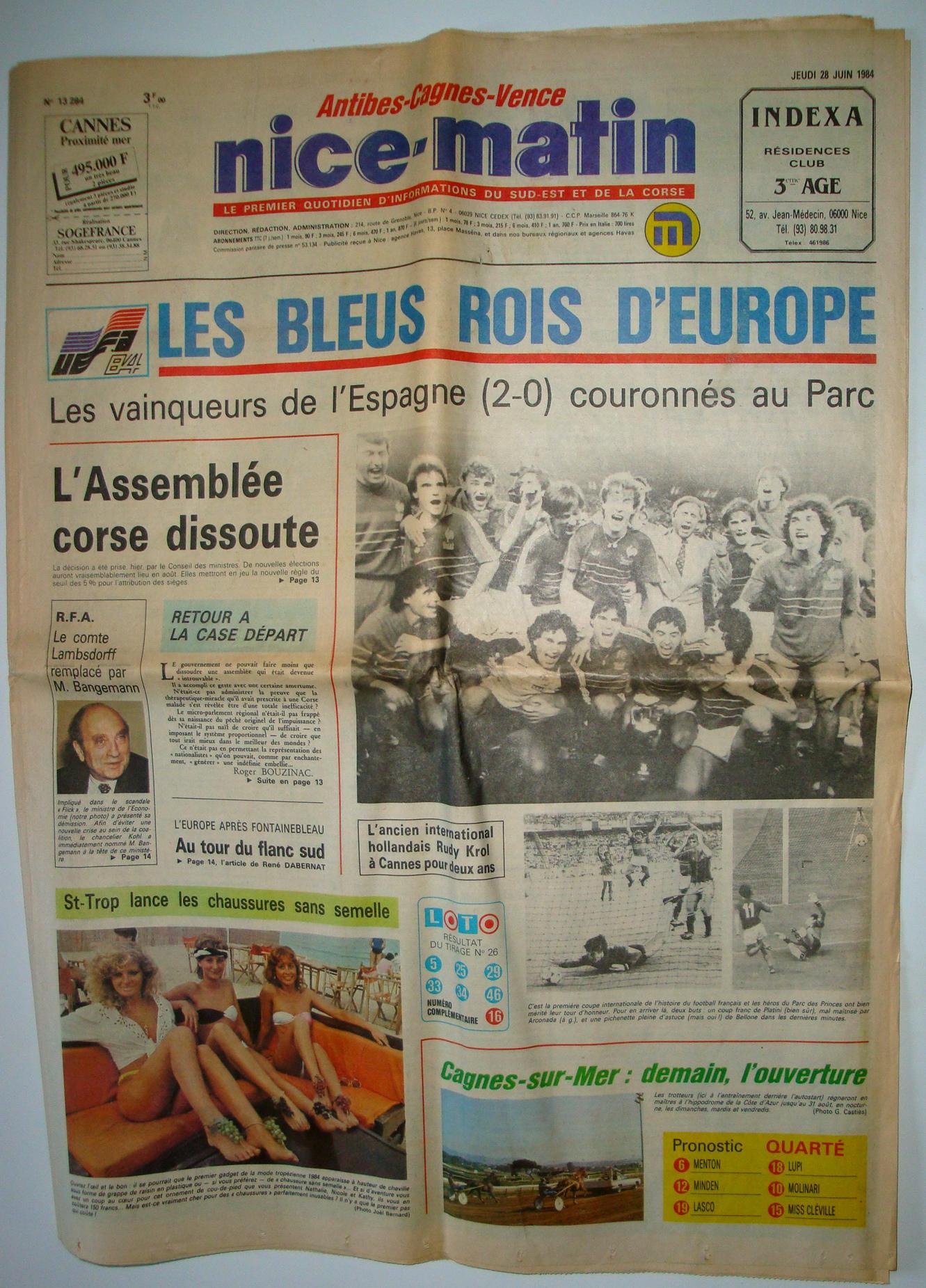 Journal Nice Matin 28 juin 1984