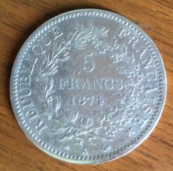 Pièce de 5 Francs 1874