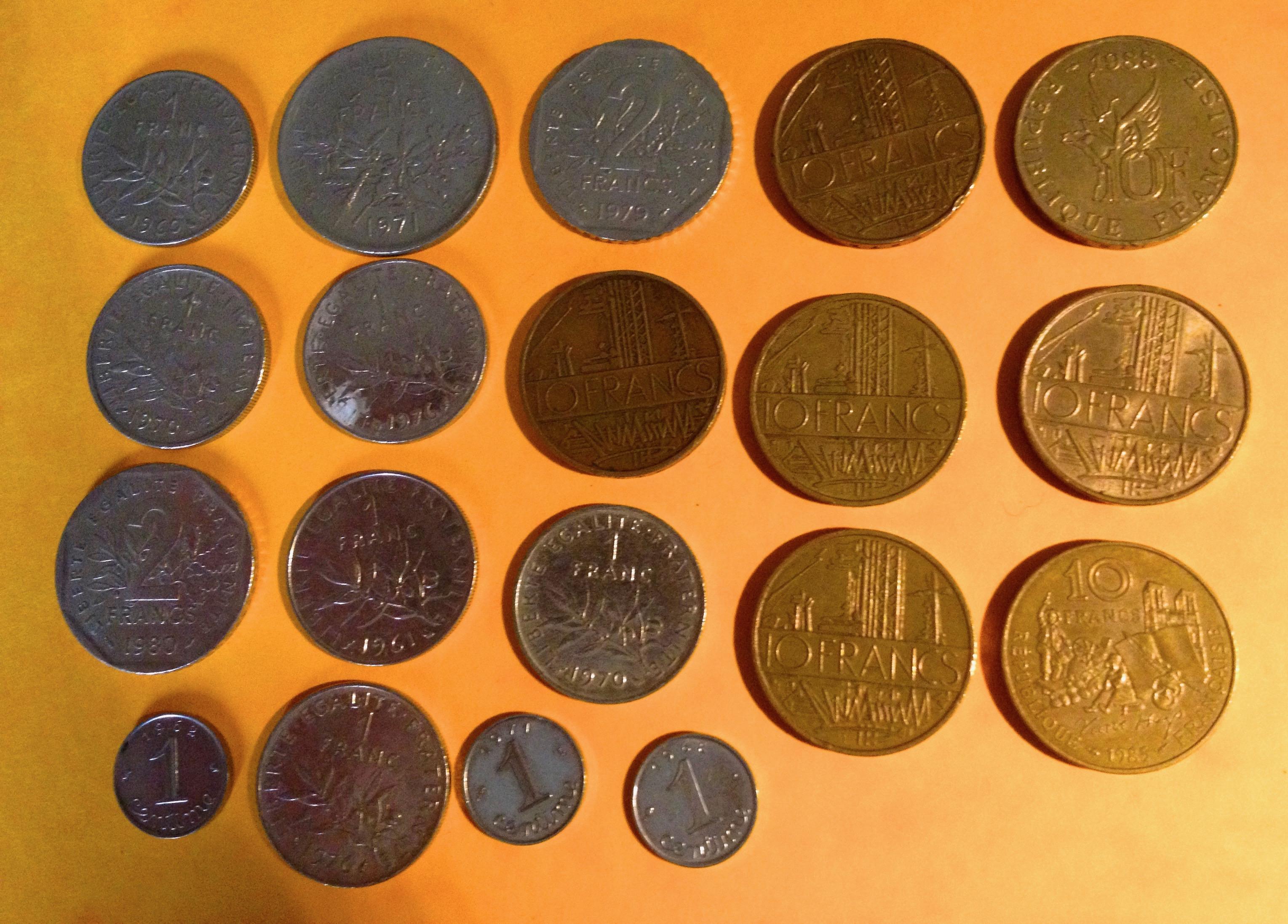 Lot de pièces Francs 1970/80