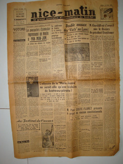 Journal Nice Matin 18 avril 1953