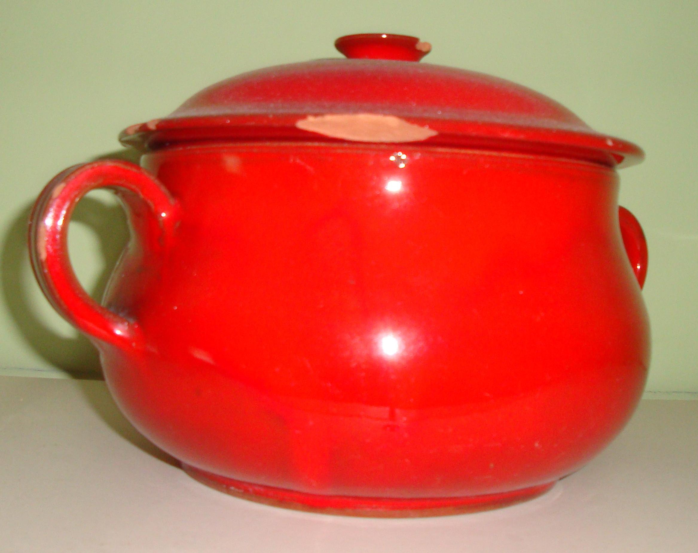 Soupière gré rouge