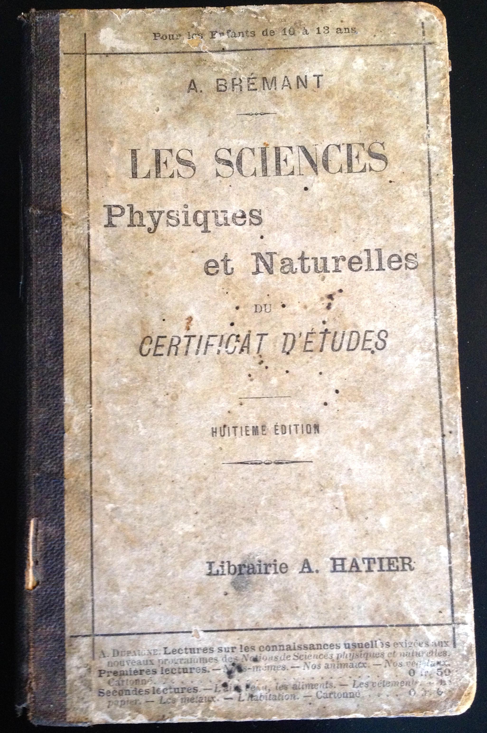 Livre Sciences physique et naturelles