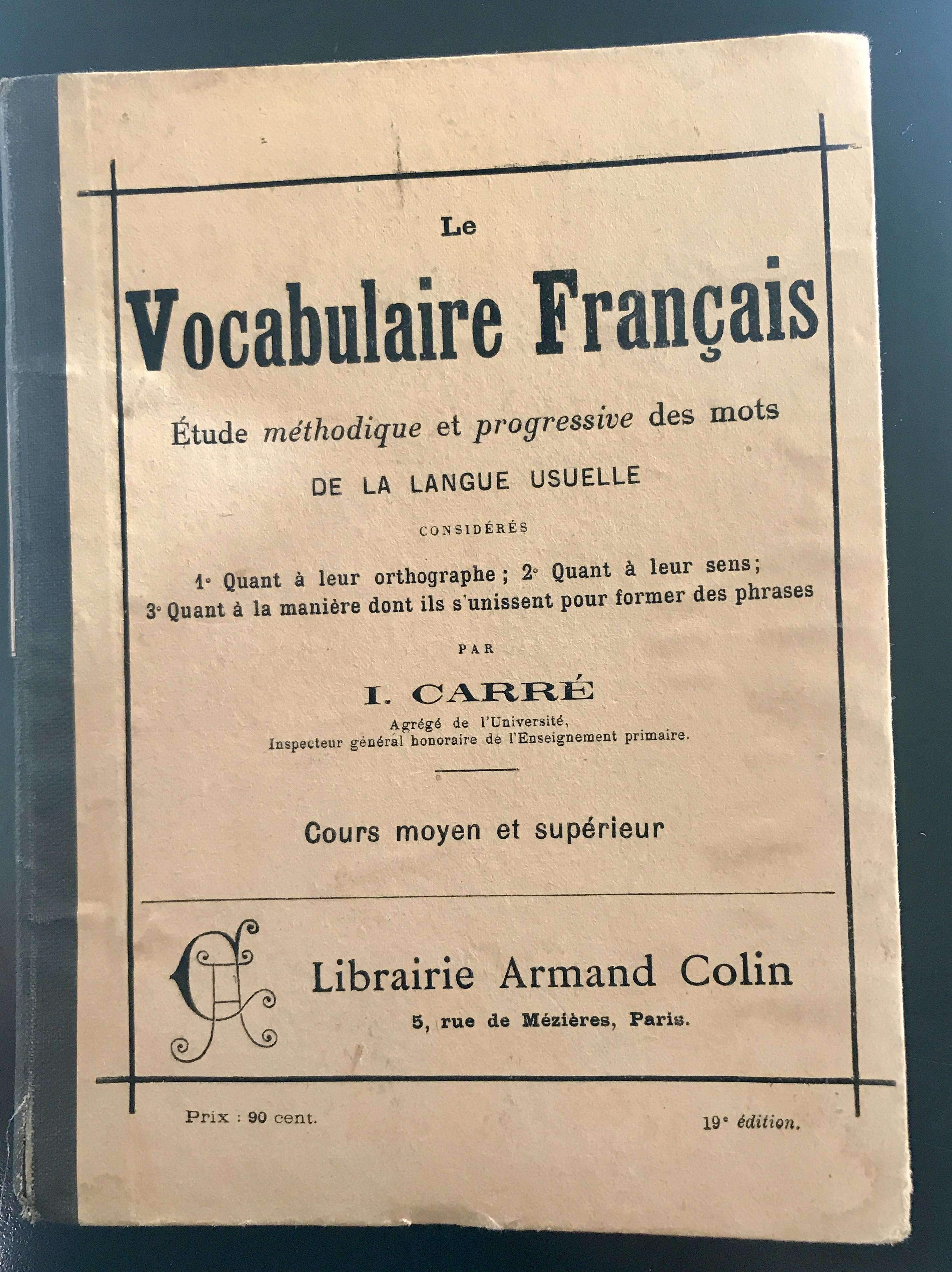 Livre vocabulaire français