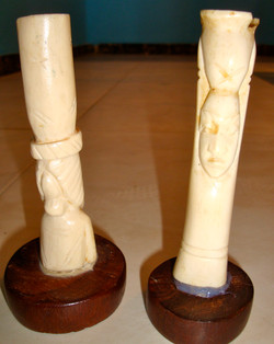 Sculpture en dents d'hippopotame