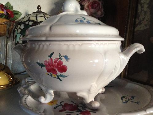 Soupière vintage porcelaine avec dessous