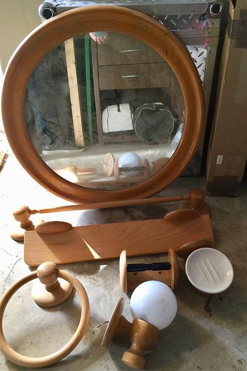 Accessoires salle de bain bois