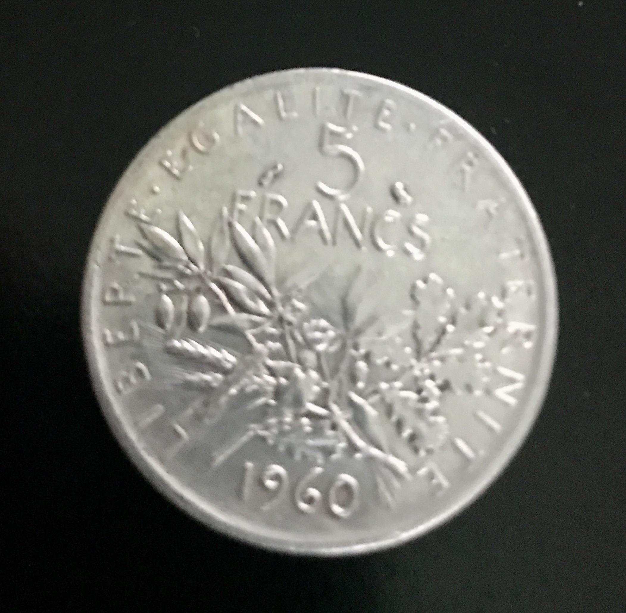 Lot de pièces de 5 Francs argent