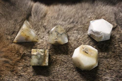 Dendritic Agate Platonic Solid Set