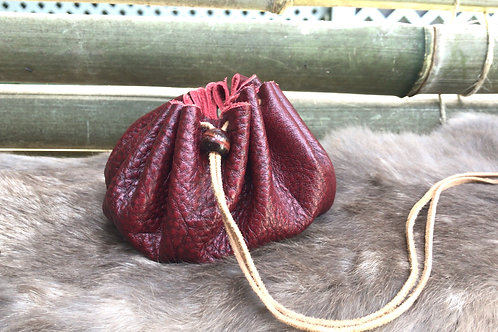 Leather Pouch with Red Tiger Eye Bead