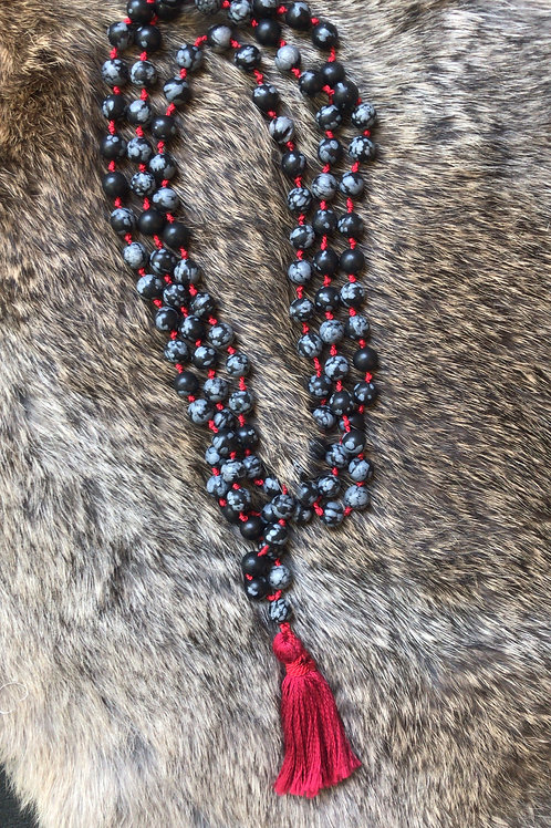 Snowflake Obsidian Meditation Beads