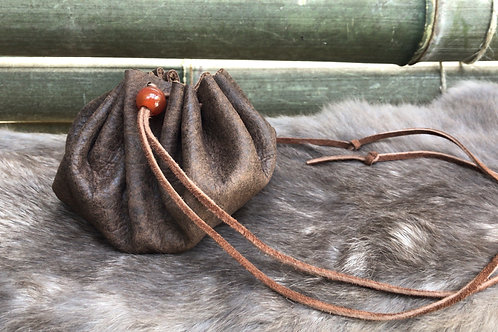 Leather Pouch with Carnelian Bead